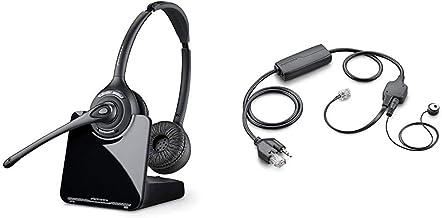 Plantronics PL-CS520 Binaural Wireless Headset System, Black/Silver & APV-63 EHS Adapter (Avaya)