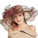 F FADVES Women Oganza Sun Hat Church Kentucky Derby Wide Brim Wedding Formal Fascinator Hat Reddish Brown