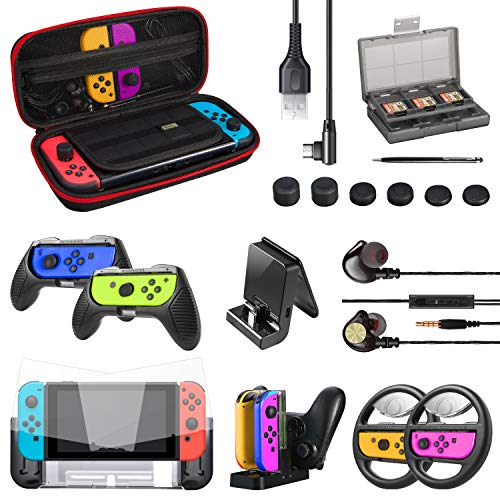 ECHTPower 20 en 1 Kits Accessoires pour Nintendo Switch- Housse, Protection Écran, Volants, Grips Joy-Con, Coque, Thumb Grip, Cartouche de Jeux, Dock Chargeur, Support de Conversion etc