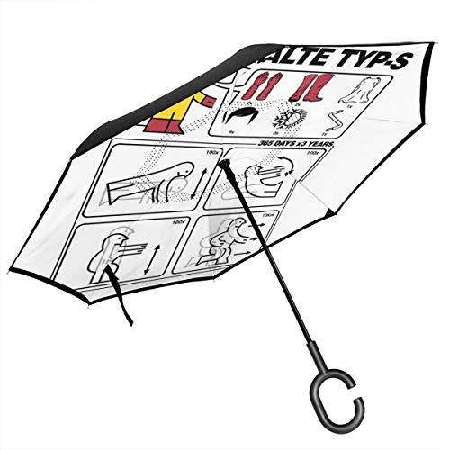 Hero Type S IKEA Regenschirm mit Gebrauchsanweisungen, doppelschichtig, umgekehrt, für Auto, umgekehrt, zusammenklappbar, C-förmige Hände – leicht und Winddicht