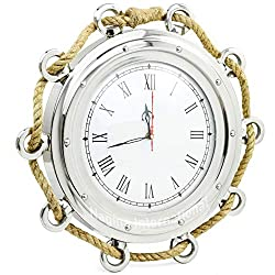 Nagina International Aluminum Nickel Plated Nautical Pirate's Maritime Wall Decor Time's Clock with Accentual Rope | Porthole Clock & Home Decor (20 Inches)