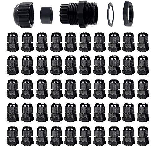 Gebildet 50pcs Presse-étoupes, PG7 Connecteurs de câble étanches, M12*1.5 Collier Plastique connecteu, diamètre 3–6.5 mm, Glandes de Câbles pour la Maison/Jardin/Éclairage d'extérieur Câble(Noir)
