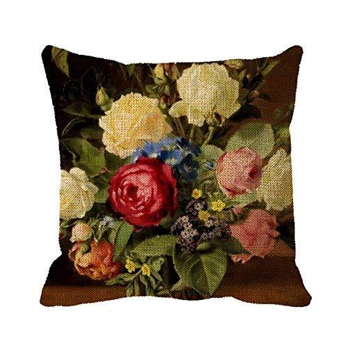 QDAS Funda de Almohada Funda de Almohada con Estampado de Rosas victorianas de impresión Antigua