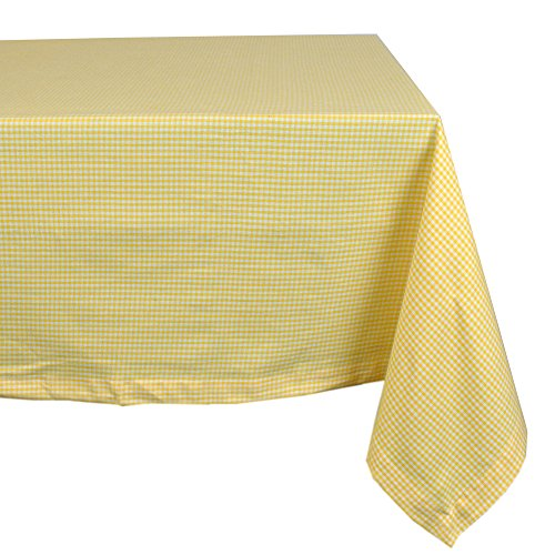 """DII 100% Cotton, Machine Washable, Dinner, Summer & Picnic Tablecloth 60x120"""", Yellow Spring Check, Seats 10 to 12 People"""