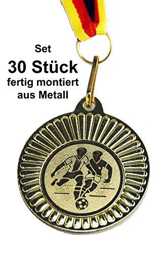 pokal-fabrik.de 30 Stück Fussball Medaillen Kindergeburtstag aus Metall mit Band und Emblem für Kinder