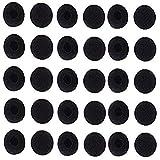 Lsgoodcare 50Pcs Soft Foam Earbud Headphone Ear Pads Replacement Sponge Covers Tips Foam Cushions Pad Protector Earplugs for Earphone Headset Earpiece MP3 MP4 Moblie Phone, Diameter 18MM, Black Color