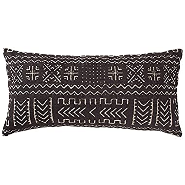 Rivet Mudcloth-Inspired Pillow, 12  x 24 , Onyx