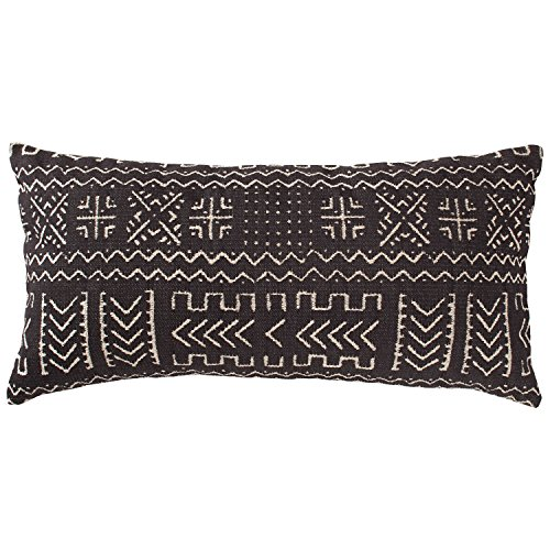 Rivet Mudcloth-Inspired Decorative Throw Pillow, 12' x 24', Onyx Black