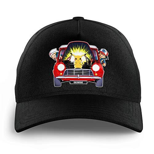 Okiwoki Casquette Enfant Noire Parodie Pokémon - Pikachu, Sasha et Aurore - Pika dépannage(Casquette de qualité supérieure - Taille Unique Ajustable - imprimé en France)