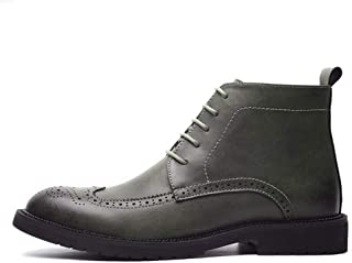 SHENYUAN Men's Oxford & Derby Boots Ankle Boot Lace up Side Zipper Microfiber Leather Wingtip Brogue Rubber Sole Block Heel Vintage Work or Casual Wear (Color : Grey, Size : 45 EU)