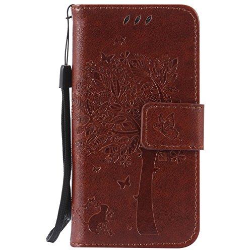Karomenic kompatibel mit Samsung Galaxy S4 Mini PU Leder Hülle Katze Baum Prägung Handyhülle Brieftasche Silikon Schutzhülle Klapphülle Ledertasche Ständer Wallet Flip Case Schale Etui,Brown#
