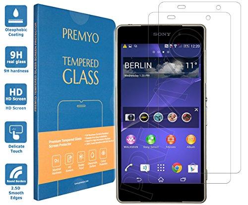 PREMYO 2 Pezzi Vetro Temperato per Sony Xperia Z2 Pellicola Protettiva per Xperia Z2 Protezione Schermo Compatibile con Sony Z2 Durezza 9H Bordi 2,5D Anti-Graffi Bolle Impronte