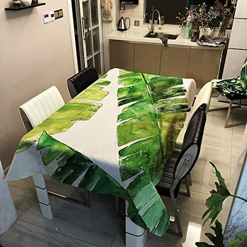 Wodoodporne obrusy prostokątne, Morbuy roślina zielony obrus łatwy do czyszczenia nowoczesny nadruk pokrowiec na stół do domu kuchni jadalni ogrodu dzieci na przyjęcie wesele dekoracyjny (biała babka, 140 x 160 cm)