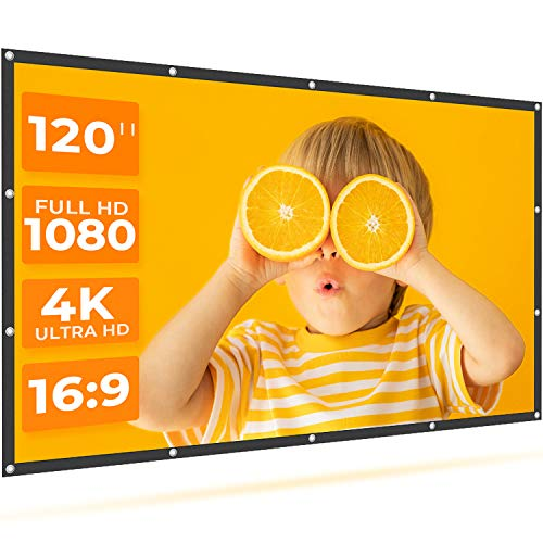 VANKYO StayTrue Projector Screen, 120 Inch Projection Screen 4K HD, 16:9, Foldable Wrinkle-Free Movies Screen(1.1 GAIN, 160°Viewing Cone) for Home...