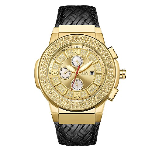 "JBW Men's JB-6101L-J""Saxon"" Luxury Water Resistant Gold-Plated Braided Black Leather Diamond Watch"