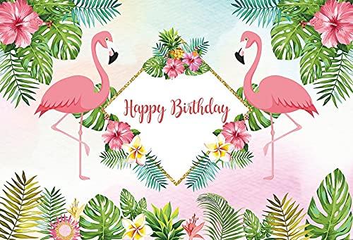 Fondo de fotografía Flamingo Tropical Palm Tree Beach Fiesta de cumpleaños Decoración Telón de...