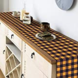 HAKACC 14x108 inches Pumpkin Color Buffalo Plaid Table Runner Cotton Burlap Table Runner for Halloween Holiday Birthday Party Table Home Decoration