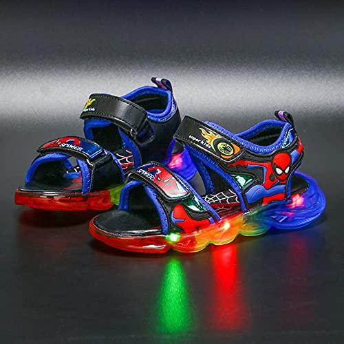 Hflyy Sandales Garçons Glow Spiderman Sandale Marche Chaussures Plage D été Baskets Bout Ouvert Mode Chaussures Bateau Antidérapantes Semelle Souple Pantoufles De Jardin,Blue-25 Inner Length 14.9cm