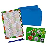 Camp Stationery Set - Includes 12-Sheets of Paper, 6 Envelopes, 2 Sheets of Fun Stickers, & 1 Pen (Sports)