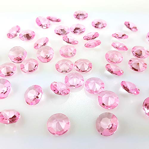 100 Stück Dekodiamanten 12 mm Dekosteine Streudeko Tischdeko (Rosa)