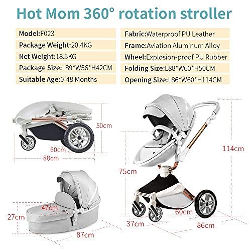 Hot Mom Silla de paseo Reversibilidad rotación multifuncional de 360 grados con buggy asiento y capazo 2020 Nueva actualización (Gris023)