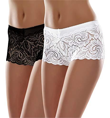 Merry Style Bóxer Bragas de Encaje Shorty Sexy Ropa Interior Mujer MSGAB52 ((2Pack) Negro/Blanco, 38 (Talla del Productor: M))