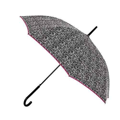 Paraguas Vogue. Paraguas Mujer estampado blanco y negro. Rayas jaspeadas. Paraguas largo automático y antiviento. Paraguas original y elegante.
