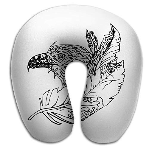 Almohada en Forma de U Moda Transpirable Suave Cómodo Resumen Gráfico Águila Imprimir Negro Blanco Grabado Boceto Plumas Cosas Salvajes