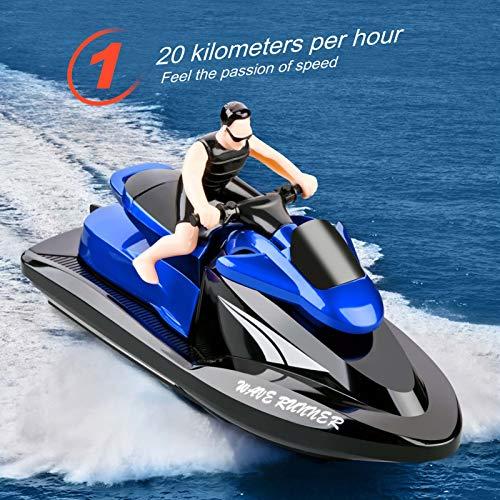 Goolsky 809 RC Motorboot RC Boot playmobil boot Hochgeschwindigkeitsfernbedienungsboot für Pools Lakes 2,4 GHz Wasserdichtes Spielzeug für Kinder Jungen und Mädchen