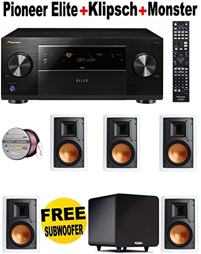Pioneer Elite SC-82 7.2-Channel Class D3 Network A/V Receiver with HDMI 2.0 + 5 Klipsch - R3800WII + POLK AUDIO - PSW111 + Monster Cable - PLATXPMS50 Bundle