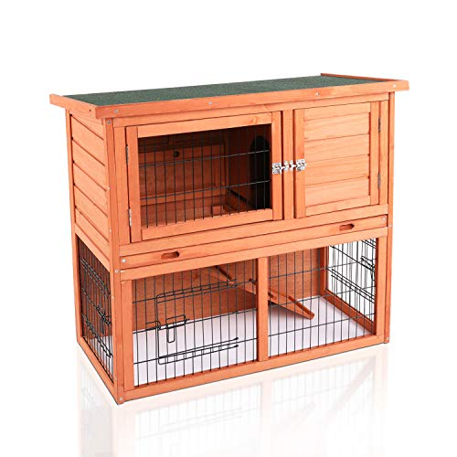 "LAZY BUDDY Rabbit Hutch, 32"" Wooden Rabbit Cage..."