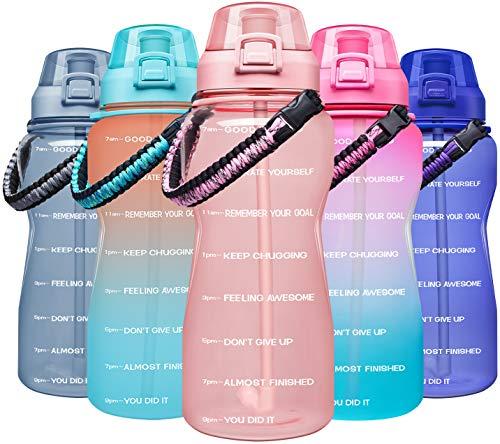 Giotto Große Wasserflasche mit Paracord-Griff und abnehmbarem Strohhalm, auslaufsicher, BPA-frei, mit Zeitmarkierung, Hellrosa