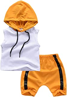 LiLiMeng Kids Infant Newborn Baby Boy Kid Sleeveless Hooded Vest Tops+Shorts Outfits Set Casual Clothes