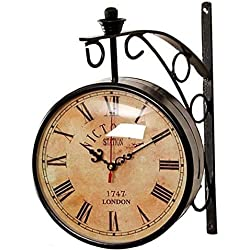 Crafts International Vintage Double Sided Wall Clock Victoria Station London 1747 Antique Round Shape Living Room/ Bedroom