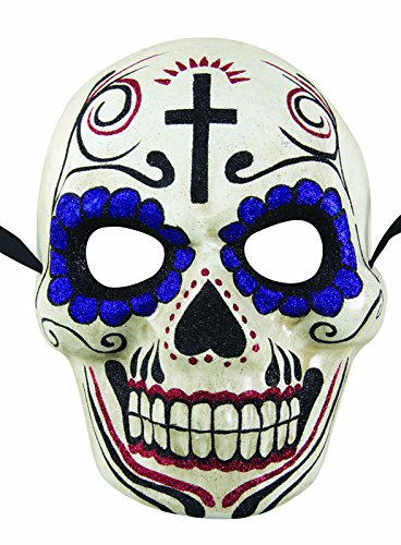 P' tit Clown 38271 Maschera adulti cartapesta, – Day Of The Dead – Bianco e Viola, Taglia unica