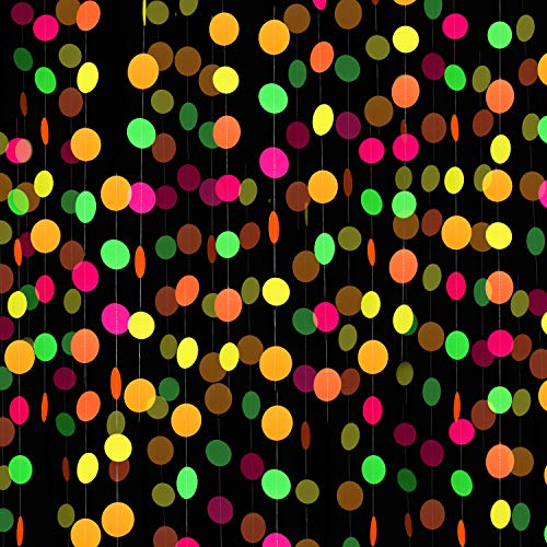 8 Pieces Neon Paper Garlands Circle Dots Banner Neon Circle Hanging Decorations for Birthday Wedding Black Light Party Supplies Reactive UV Glow Party