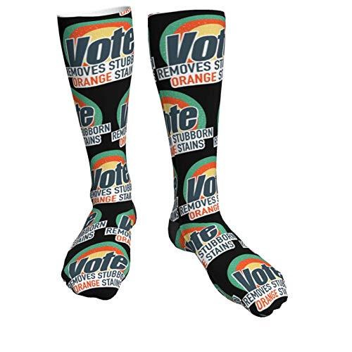 Medias unisex Vote elimina manchas de color naranja y de los deportes gruesos negros de tacón alto de la rodilla al muslo
