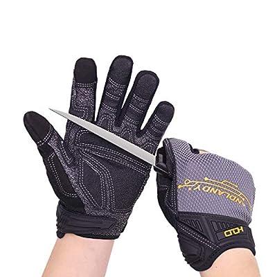 HANDLANDY Mens Work Gloves, LEVEL 5 Cut Resistant Mechanics Gloves, Tear & Abrasion Resistant Safety Gloves for Work (Medium)