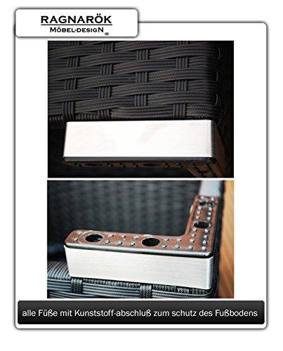 Ragnarök-Möbeldesign PolyRattan Lounge DEUTSCHE Marke - EIGNENE Produktion - 7 Jahre GARANTIE Garten Möbel incl. Glas und Polster (schwarz) Gartenmöbel - 8