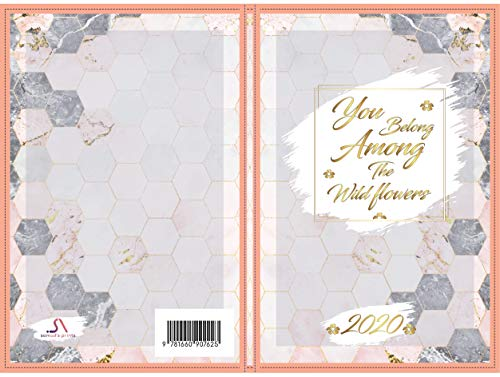 you belong among the wildflowers notebook cover: Marble Floral Quotes Cover Notebook Blank Lined (English Edition)