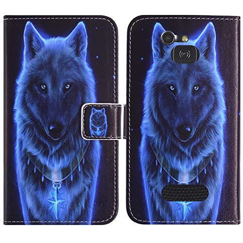 TienJueShi Wolf Flip Stand Brief Leder Tasche Schütz Hülle Handy Hülle Für Doro 5516 2.4 inch Abdeckung Fall Wallet Cover Etüi