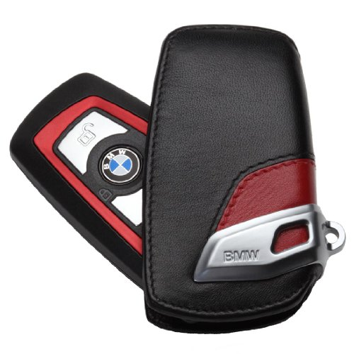 Funda para llavero, de línea deportiva, de cuero, color rojo y negro, para BMW, F01F02F25F30F10F07F12F20