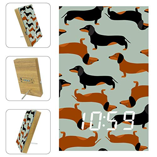 Yoliveya LED Tischuhr Nachttisch Wiener Dackel Hund dekorativ Digital Wecker mit Kalender Temperatur USB batteriebetrieben