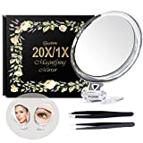 5Inches 20X Double-Sided Magnifying Mirror &Slant Tip and Pointed Eyebrow Tweezer Set,Perfect for Precise Makeup Application for Facial Hair, Blackhead and Tick Remover.