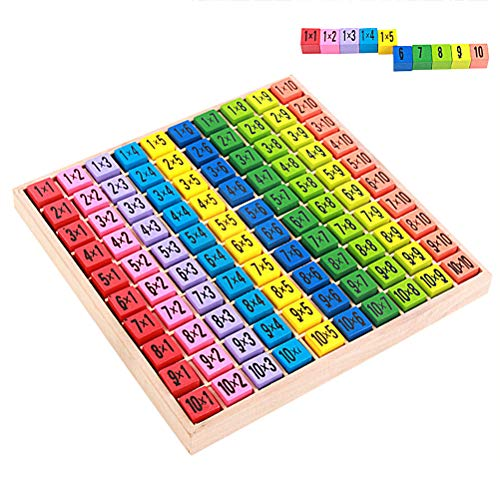StyleBest 99 Multiplication Table Math Toy 10x10 Times Table Board Double Side Pattern Multiplication Table Building Blocks Kids Educational Toy