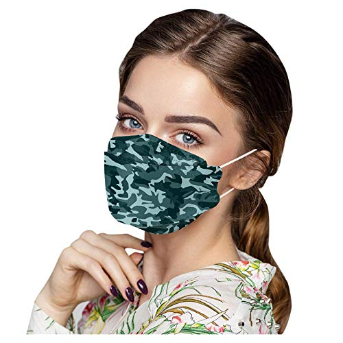 Spring Floral Flower KF94 Face Masks,Leopard Camo Print 4 Ply Fish Type Disposable Masks Full Face Protection for Adults (Camouflage D, 30Pcs)