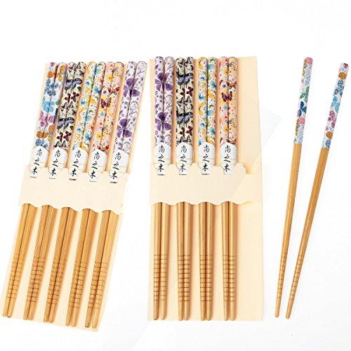 10 pares de palillos japoneses palillos de bambú reutilizables TIJERAS NATURALES 22.5 CM mariposa colorida