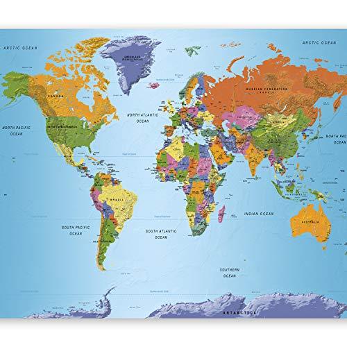 murando Fototapete selbstklebend Weltkarte 294x210 cm Tapete Wandtapete Klebefolie Dekorfolie Tapetenfolie Wand Dekoration Wandaufkleber Wohnzimmer Geographie Kontinente k-A-0095-a-a