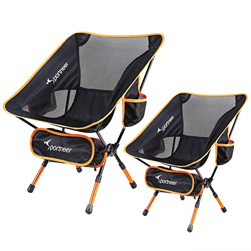 Camping Chair Ultralight Portable Folding Sportneer Backpacking Chair Compact and Heavy Duty Outdoors BBQ Beach Travel Picnic with 2 Storage Bags and Carry Bag Height Adjustable