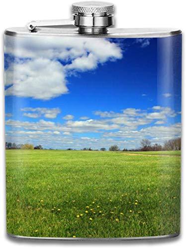 Grüne Wiese Bäume Himmel im Freien tragbare 304 Edelstahl auslaufsicher 7 Unzen Topf Flachmann Reisen Camping Flagon für Mann Frau Kolben großes kleines Geschenk